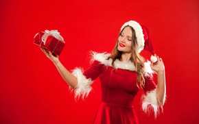 Picture pose, smile, mood, holiday, gift, hat, makeup, figure, dress, Christmas, hairstyle, New year, maiden, fur, …