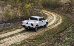 Picture road, white, vegetation, turn, Toyota, pickup, Hilux, Special Edition, 2019