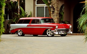 Picture Red, Car, Chevy, Old, Nomad