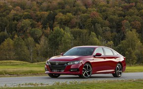 Picture forest, red, Honda, Accord, sedan, 2018, four-door, 2.0T Sport