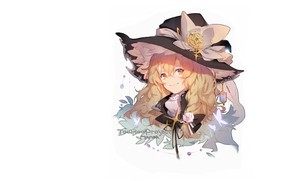 Picture butterfly, face, smile, white background, bow, pigtail, suspension, brooch, witch hat, witch, Touhou Project, Marisa …