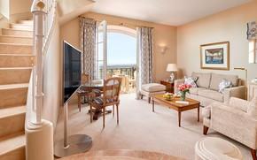 Picture interior, ladder, living room, Côte d'azur, chateau Saint-Martin