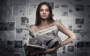 Picture look, girl, brunette, Newspapers