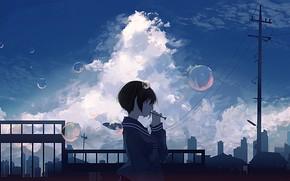 Picture girl, the city, bubbles, school uniform