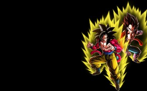 Picture lights, guys, black background, Dragon Ball