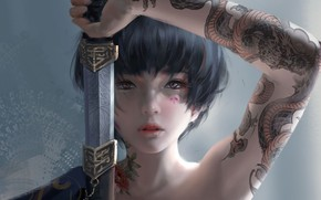 Wallpaper look, girl, Japan, sword, tattoo, fantasy, art