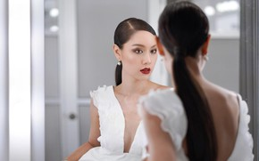 Picture Girl, Asian, Woman, Lady, Mirror, Lips, Hair, Dress