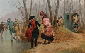 Picture French painter, French painter, oil on canvas, Henri Saint-Meuris, A First Attempt, The first attempt, …