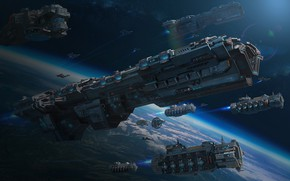 Picture space, transport, planet, ships, stars