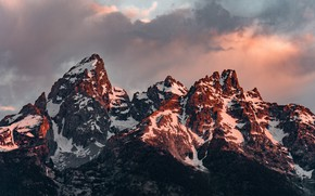 Picture the sky, clouds, snow, trees, sunset, mountains, nature, rocks, the evening