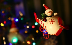 Picture winter, light, flight, smile, the plane, the dark background, holiday, toy, blur, lights, Christmas, helicopter, …