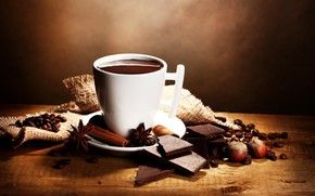 Picture coffee, chocolate, grain, Cup, nuts, cinnamon
