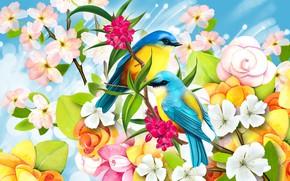 Picture flowers, figure, birds