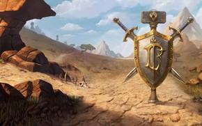 Picture World of Warcraft, game, desert, mountains, weapons, digital art, artwork, shield, swords, fantasy art, Blizzard …