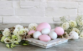 Picture flowers, holiday, eggs, spring, Easter, Easter, eustoma