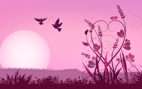 Picture the sun, birds, collage, vector, plants, silhouette