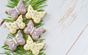 Picture white, grass, butterfly, background, cookies, wood, glaze