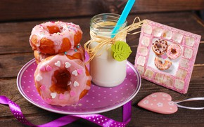 Picture milk, hearts, donuts