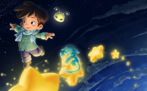 Picture stars, art, the little Prince, children's, Anastas Ermolina, finiti, Heavenly dream