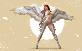 Picture girl, angel, warrior, halo