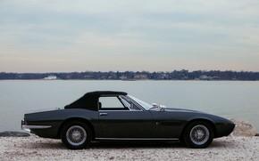 Picture black, Maserati, 1969, Roadster, spider, in profile, the soft top, Ghibli Spider