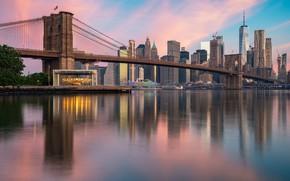 Picture the sky, water, bridge, building, New York, Manhattan