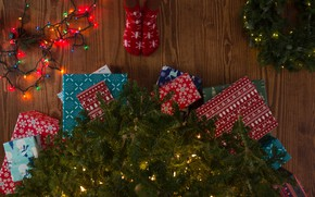 Picture winter, branches, holiday, feet, toys, Christmas, gifts, floor, New year, socks, tree, garland, needles, a …
