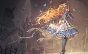 Picture butterfly, armor, redhead, long hair, battlefield, chess Board, art, Alice, saber, alice in wonderland, ruffles, …