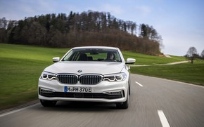 Picture road, field, white, BMW, sedan, front, hybrid, 5, four-door, 2017, 5-series, G30, 530e iPerformance