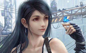 Picture Girl, Butterfly, Woman, Final Fantasy VII, Tifa Lockhart, Final Fantasy VII Remake