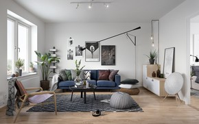 Picture room, interior, sofa, living room, Scandinavian style