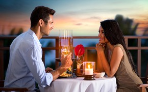 Picture look, girl, wine, romance, the evening, candles, pair, cafe, male, lovers