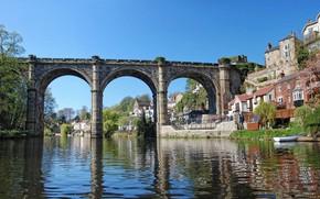 Picture bridge, river, home, arch