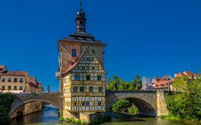 Picture bridge, river, the building, Germany, Bayern, Germany, Bamberg, Bavaria, Bamberg, Old town hall, Regnitz River, …