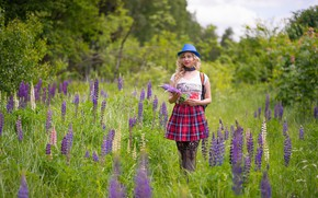 Picture look, girl, flowers, nature, pose, skirt, Lupin