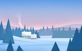 Picture Nature, Winter, Minimalism, Trees, Snow, Forest, House, Landscape, Nature, Art, Art, Landscape, Minimalism, Forest, Trees, …