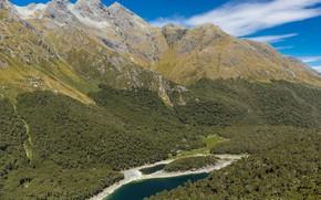 Picture mountains, lake, vegetation, New Zealand, Lake Mackenzie and the Hut