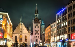 Picture night, lights, Germany, Munich, Town hall