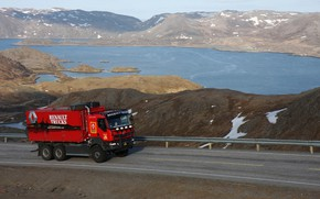 Picture road, mountains, red, truck, Renault, pond, triaxial, Renault Trucks, Kerax