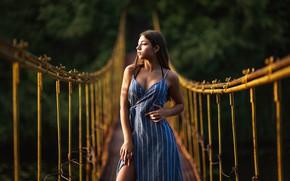 Picture girl, sunset, dress, brunette, profile, the bridge