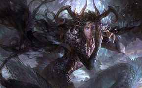 Picture fantasy, creatures, horns, the young man, spirituality, Capricorn, Capricorn, astrology, Zodiac sign