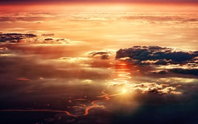 Picture road, the sky, clouds, light, sunset, the evening