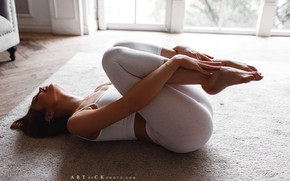 Picture girl, photographer, model, brunette, top, feet, leggings, on the floor, closed eyes, bare shoulders, sportswear, …