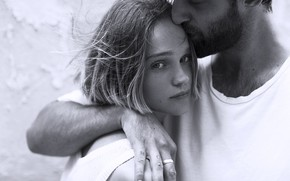 Picture look, girl, love, kiss, pair, black and white, male