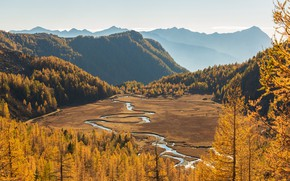 Picture autumn, forest, the sky, the sun, trees, mountains, river, valley, Italy, the view from the …