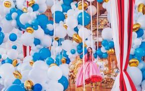 Picture girl, balls, balloons, mood, dress, carousel, a lot, Kristina Makeeva