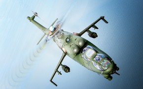 Picture Sea, Mi-24, Attack helicopter, Cockpit, Polish air force