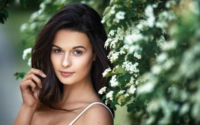 Picture girl, brown eyes, photo, photographer, flowers, model, bokeh, lips, face, brunette, portrait, mouth, close up, …