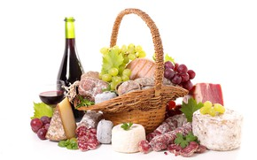 Picture wine, basket, cheese, grapes, sausage, wine, grapes, bacon, cheese, sausage, bacon