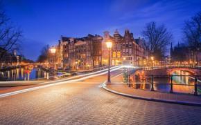 Picture bridge, building, home, Amsterdam, lights, channel, Netherlands, night city, Amsterdam, Netherlands